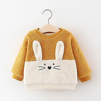 Baby Girls Autumn Plus Velvet Thicken Warm Tops, Cartoon Rabbit Hooded