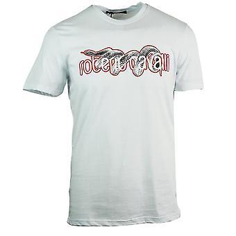 Roberto Cavalli Snake Kääritty Logo Valkoinen T-paita