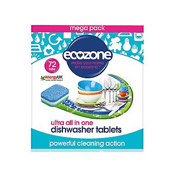 Ecozone Ultra All In 1 Geschirrspüler Tabletten x 72 DTU72
