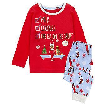 Elfo en el estante pijamas para niños y niñas Lista de verificación de Navidad de la Lista de Verificación de Los Elfos de Manga Larga Roja del Niño Rellenos de medias para ropa de dormir