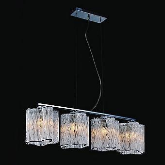 Klassieke hangende hanghanger Chrome 4 Licht met glazen tint, E27