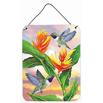 Musta chinned kolibrit kultainen heliconia seinä tai oven roikkuu sormenjäljet