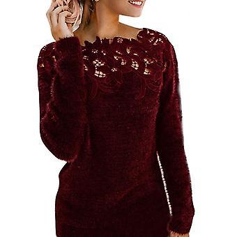 المرأة طويلة الأكمام مثير الدانتيل pullover