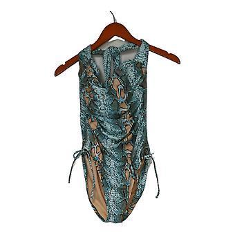 Sun Kitten Swimwear Swimsuit Animal Print Halter One-Piece Blue A379964