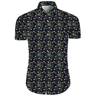 Mens 2 Pieces 3d Floral Print Casual Button Down Short Sleeve Hawaiian Shirt And Shorts Set In Black