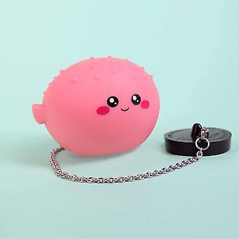 Fizz Creations Novelty Puffer Fish Light Up Bath Plug, Pink, 14 cm x 19 cm