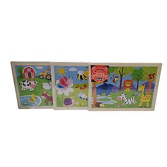 3 Pack - 24 piece wooden puzzle set