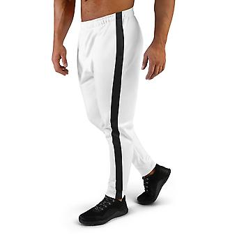 Men's Premium White Joggers With Stripe