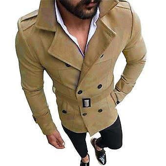 Männer Winter Trench Woolen Mantel Retro Jacke Mantel Jacken Doppelbrust