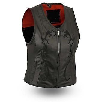Mkl - charming women's leather motorcycle vest