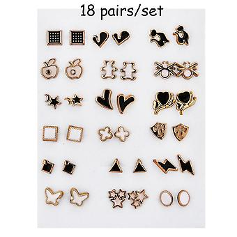 Women Acrylic Crystal Small Stud Earrings Set