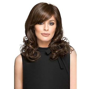Women's fashion long curly hair side bangs synthetic wigs brown