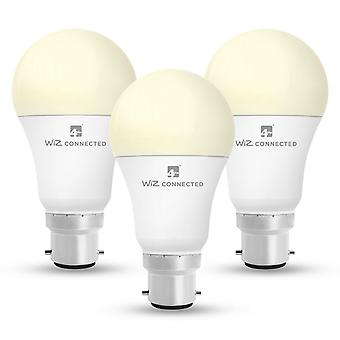 WiZ LED A60 Smart Bulb Wifi BC (B22) Warm White & Dimmable, 3 Pack