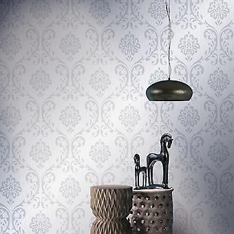 vidaXL wallpaper rolls fleece 2 pcs. white 0.53×10 m ornament