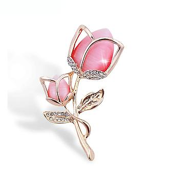 Lovely Brooch Pin Pink Rose Corsage Diamond Inlaid Alloy Ladies Brooch
