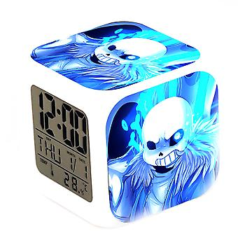 Animated Thermometer Glowing Cube Alarm Clock Led Mute Legend Undertale Colorful Alarm Clock