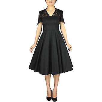 Chic Star 1940s Full Dress with Lace In Black