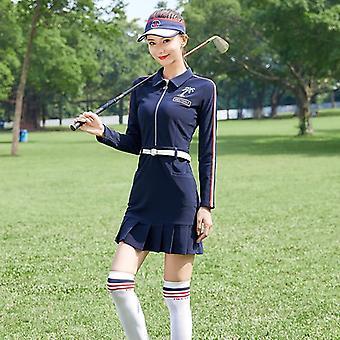 vårklær kvinner langermet kjole, golf slitasje, dame slank, anti-svette,