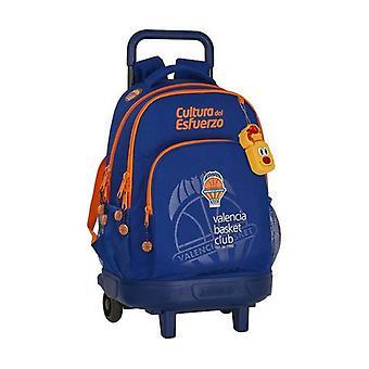 School Rucksack with Wheels Compact Valencia Basket Blue Orange