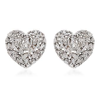 GP Certified I3 G-H Diamond Cluster Sapphire Heart Stud Earrings 9k Yellow Gold