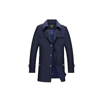 Men&s Single Breasted Mid Long Trench Coat