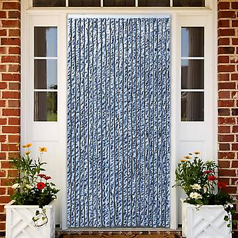 vidaXL طارد الحشرات الستار الأزرق والأبيض والفضة 90x220cm Chenille