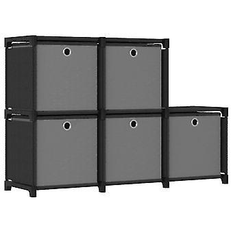 箱5コンパートメント黒103x30x72、5 cmの生地が付いているvidaXL立方体の棚