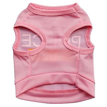Dog cat clothes polyester english printing vest summer thin