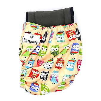 Hananee Baby Cloth Diapers with Bamboo Charcoal Insert Pad All-In-One, Owl