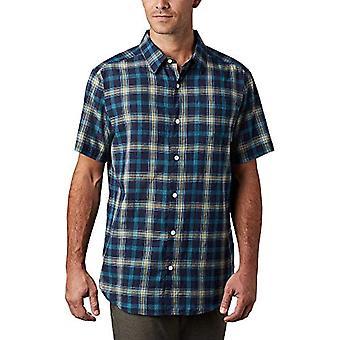 Columbia Under Exposure YD - Men's Short Sleeve Shirt, 100% Cotton, Marine Blue Checked Pattern, Man, Ref Sleeved Shirt. 0193553542193