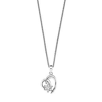 Amor kvinners halskjede med hjerteformet anheng i sølv 925 rhodium med hvite zirkoner 42 cm 532006