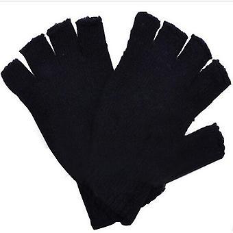 女男黑针织拉伸弹性暖半指冬无指