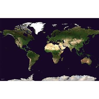 Stor satellitkarta över världen (laminerad)