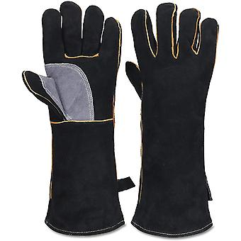 Extrem hitze- und feuerbeständige Handschuhe aus Leder mit Kevlar-Nähten, perfekt für Kamin, Herd,