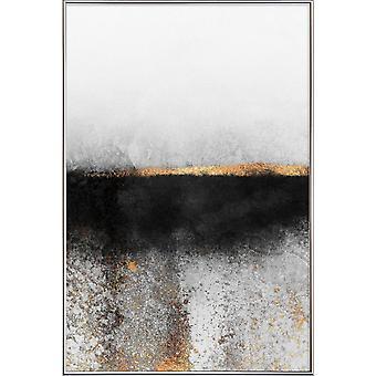 JUNIQE Print - Sadza i złoto - plakat abstrakcyjny i geometryczny w kolorze szarym i czarnym