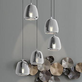 Eglo sterren van licht Albarino vijf druppel chroom hanger met zwart verdampt glas