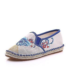 40 ベージュの女性中国の民族刺繍フラットバレエ結婚ジェーンズチョンサムダンス靴見事女神dt84