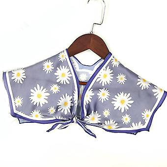 hvit blomst falsk krage avtakbar bluse silkeskjerf halv skjorter for dame