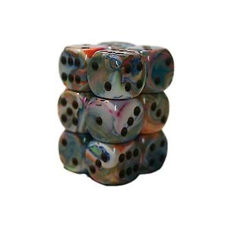 Chessex 16mm D6 Block of 12 - Festive Vibrant/brown