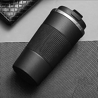 380ml Stainless Steel Coffee Thermos Mug Portable Car Vacuum Flasks Travel (black)