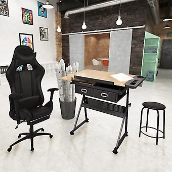 vidaXL Tiltable tabletop drawing table with office chair