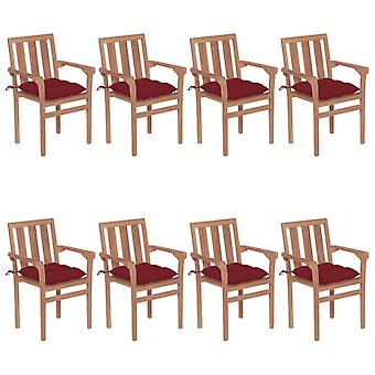 vidaXL Stackable garden chairs with cushions 8 pcs solid wood teak