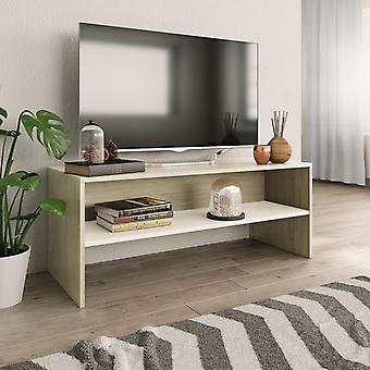 """vidaXL טלוויזיה ארון לבן אלון סונומה 100 x 40 x 40 ס""""מ שבב"""