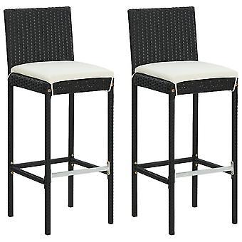 vidaXL garden bar stool with cushion 2 pcs. Black Poly Rattan