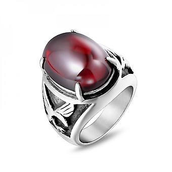 Men's Creative Ring Titanium Steel Eagle Red And Black Inlaid Agate Unique Shape Ring Fashion Trend Personalized Jewelry Sa720
