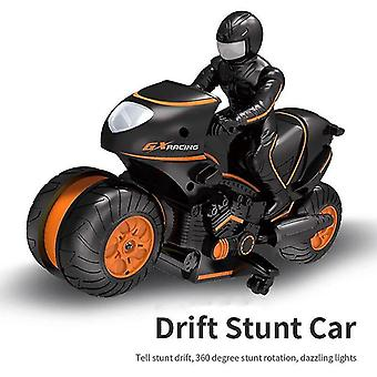høyhastighets fjernkontroll sidelinje stunt motorsykkel stunt bil drift barnas leketøy racing (oransje)