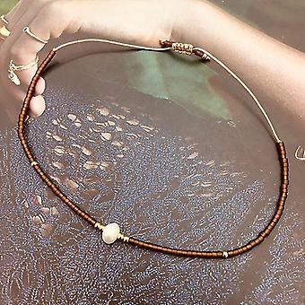 Tynd perle armbånd, håndlavede Delica perler, Glas Vintage, Simple armbånd,(Kaffe)