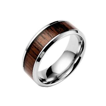 (13) דפוס עץ ייחודי לגברים מרכז טבעת נירוסטה טבעת 9# גודל