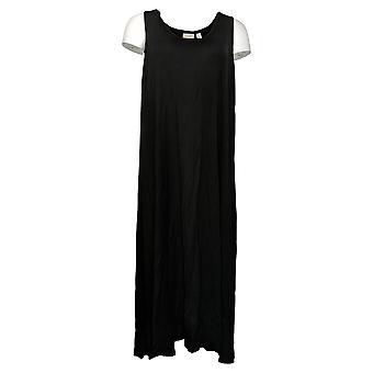 LOGO by Lori Goldstein Dress Handkerchief Hi-Low Hem Black A350606