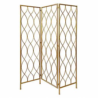 3 Panel Gold Room Divider with Golden Age Charm